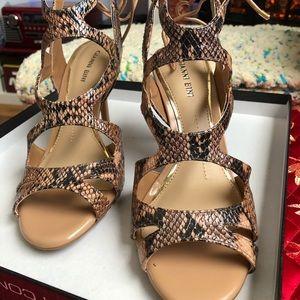 Gianni Bini faux python strappy heels w/tie back